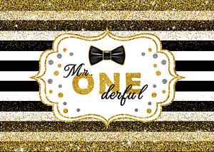 7X5FT 1st Birthday Party Gold Glitter Stripes Photo Background Vinyl Backdrop