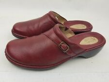 CLARK'S ARTISAN COLLECTION COMFORT CLOGS DARK RED LEATHER  WORK SHOES SZ 10M