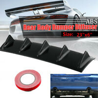 23'' x6'' Black Car Rear Bumper Diffuser Shark Fin Add-on Splitter Spoiler Lip
