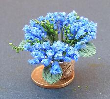 1:12 Scale Blue Flowers In A Basket Dolls House Miniature Garden Accessory
