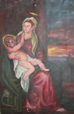 Vintage oil painting religious portrait Virgin Mary Christ Child