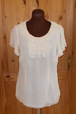 MONSOON cream PURE SILK chiffon short sleeve tunic top frill STEAMPUNK 14 42