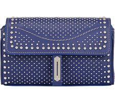 Fontana Milano 1915 women's blue leather studded pochette clutch bag