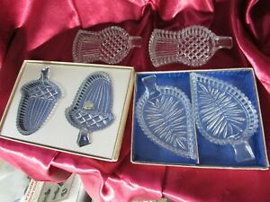 6 BOHEMIAN CUT CRYSTAL NUT / SWEET DISHES LEAVES ACORNS & THISTLE SHAPES