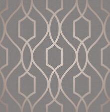 Copper Charcoal Shiny Wallpaper Metallic Geometric Apex 3D Modern Fine Decor