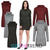 Womens Jumper Dress Ladies Cowel Neck Sleeveless Long Sleeve Knitted Long Top