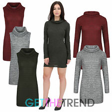 Womens Jumper Dress Ladies Cowel Neck Sleeveless Long Sleeve Knitted Long Top