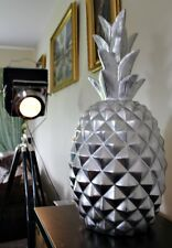 X Large massive Silver Ananas Fruits exotiques Ornament 70 cm Table Décoration Statue