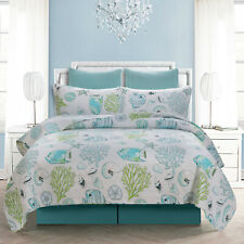 Tropical Fish Coverlet Quilted Queen King Size Bedspread Set Blanket Throw Rug