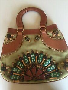 Women's Oscar de la Renta Beaded Suede and Leather Handbag
