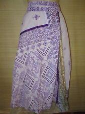 "New VINTAGE Silk sari wrap SKIRT / DRESS FREESIZE (8-16 best) 30"" Long (code75)"
