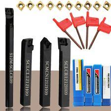 4Pcs Set 12mm Shanks Lathe Turning Tool Boring Holder Bar +Carbide Insert Blades