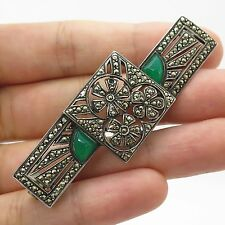 Atq Sterling Silver Green Onyx Marcasite Gem Large Cutout Floral Pin Brooch