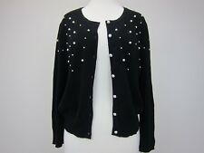 Karl Lagerfeld Women's Long Tall Sally Pearl Front Cardigan Large Black  NWT