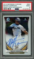 2014 bowman chrome draft pick autograph #mh MONTE HARRISON brewers rookie PSA 9