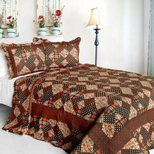 3 Pc Bubbly brown red black white plaid patterns 100% Cotton Queen Quilt Shams