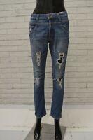 Jeans Donna DANIELE ALESSANDRINI Taglia 40 Pantalone Blu Pants Woman Slim Skinny