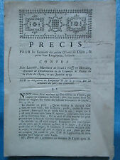 PRECIS CONTRE MARCHAND DE BETAIL DE CUSSY-EN-MORVAN / HÔPITAL DE DIJON, 1753.