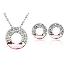 18K WHITE G/P & GENUINE PINK AUSTRIAN CRYSTAL & CUBIC ZIRCONIA JEWELLERY SET