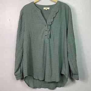 Entro Womens Long Sleeve V- Neck Gauze Popover Tunic Blouse Size Small