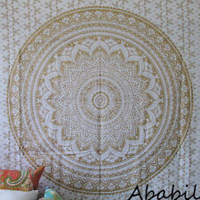 Small White Golden Ombre Mandala Hippie Twin Size Wall Decorative Tapestry