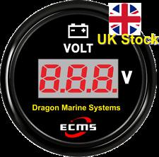 Marina Digital Medidor de voltios 12/24 V Impermeable Dial Negro