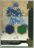 2019-20 Upper Deck Artifacts Auto Material Gold #143 Elias Pettersson 10/15