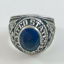 United States Army Blue Stone Ring Vintage Excellent Condition Size 11.5