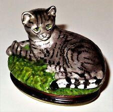 Halcyon Days Enamel Box - Mackerel Tabby Cat Bonbonniere - Kitten - Kitty