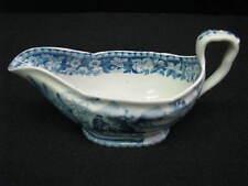 1825 Davenport Stone China Blue Transferware Chinoiserie Pattern Sauceboat