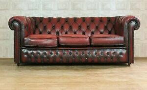 FABULOUS Oxblood Red Leather 3 Seater Chesterfield Sofa - *£88 DELIVERY*