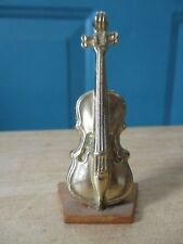 Miniature Gold Violin on Wooden Stand Stamped ENG 183