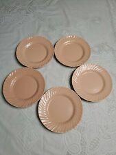 """5 x Franciscan Ware Coronado Swirl Bread Plates 7 1/2""""  Peach Salmon Coral GUC"""
