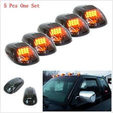 5Pcs Smoked Amber LED Cab Roof Top Marker Running Light For Truck SUV Pickup 4x4