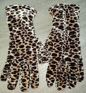 CROFT & BARROW womens VELVET SOFT GLOVES LEOPARD PRINT fleece lined THINSULATE