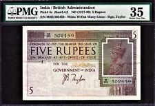 British India 5 Rupees 1917-30 KGV Signature J.B Taylor Pick-4c Very Fine PMG 35