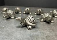 Vintage Turtle Pulls Cast Iron Cabinet Knobs Drawer Door Handles Lot of 8 silver