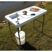Folding Fish/Game Cleaning Table with Sink-Faucet Durable Cutting Fillet Outdoor