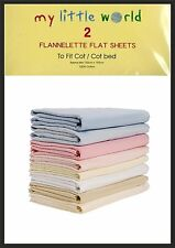 Cot / Cot Bed Flannelette Flat Sheets Soft Touch Pack of 2 100% Cotton