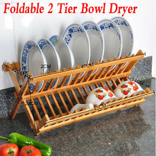 Wooden Dish Bamboo Drainer  Rack Holder Stand Plates Drying Storage Kitchen Tool