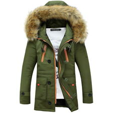 Warm Winter Mens Soft Fur Hooded Jacket Casual Thicken Long Parkas Coat Cool GW