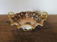 REDUCED - Antique Nippon 2 Handled Floral Gold Moriage Bowl - Maple Leaf Mark