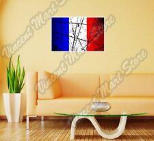 "France Country Flag Grunge Retro Wall Sticker Room Interior Decor 25""X18"""