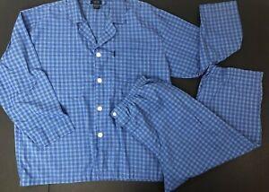 Izod Sleepwear Pajamas XL Mens Cotton Blend Blue Check Plaid PJs Set Inseam 24