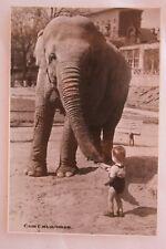 Vintage 1955 Original USSR Russia Soviet photo postcard - Elephant and boy