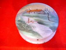 Antique/ Vintage Handpainted Powder Trinket Box Frosted Glass Dressing Table Box