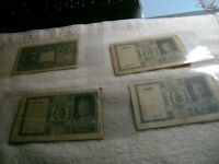 ITALY-(-1939-1944-)-10 LIRE-Circulated Lot of 4 Banknotes