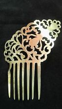 Vintage Hair Comb Brassy Gold Victorian Scrolling Edwardian Lrg Clip UpDo Clasp