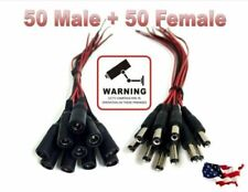 50 Female 50 Male Pigtails DC Power Connectors Plug Lead Cord for CCTV Cameras