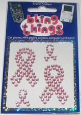 4 Pink Ribbons Crystal Cell Phone BLING THING iPhone Sticker iPod Decal
